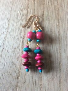 Long-Turquoise-Pink-Wooden-Drop-Earrings