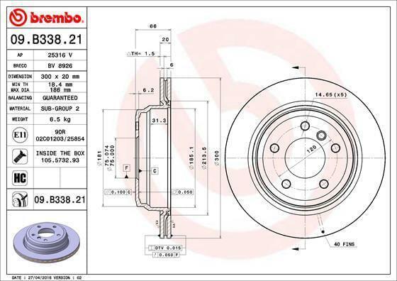 BREMBO   Jeu de 2 disques de frein Essieu arrière (Set09.B338.21) ventilé de