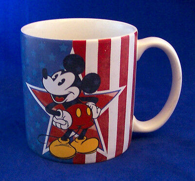 DISNEY Mickey Mouse Minnie Mouse MUG Large Patriotic American Flag Stars Stripes