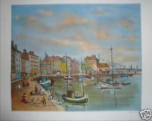 TABET-Claude-Lithographie-signee-numerotee-port-bateaux-mer-marin-art-naif