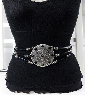 French Fashion Antique Silver Metal and Cord Belt  S/M/L -  MADE IN ITALY