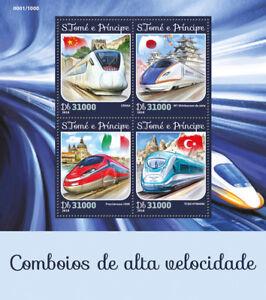 Sao-Tome-amp-Principe-2016-MNH-High-Speed-Trains-Shinkansen-CRH6A-4v-M-S-Stamps