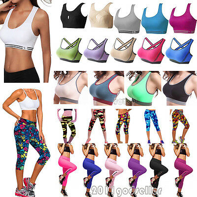 Womens Sports Padded Bra Racerback Stretch Cropped Pants Capri Leggings Gym Yoga