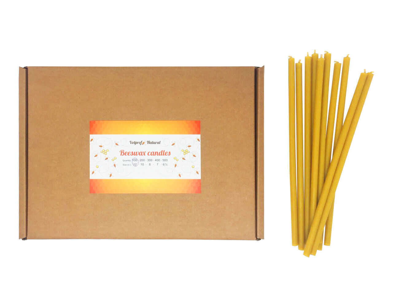 100 Natural 100% Pure Beeswax Taper Candles ( 12 ) Natural Honey Scent Bulk