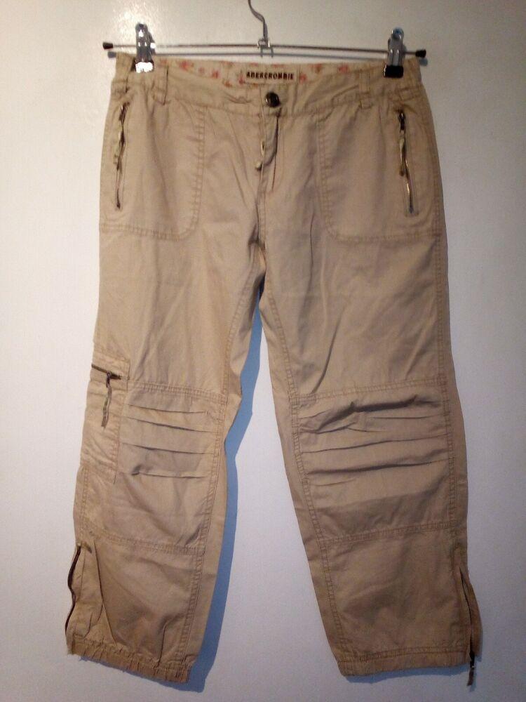 Ambercrombie & Fitch Femme Cargo Capri Pantalon W28 Bnwt
