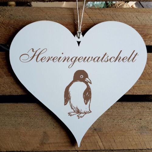 Schild Herz « HEREINGEWATSCHELT » Türschild Pinguin Willkommen Familie Geschenk