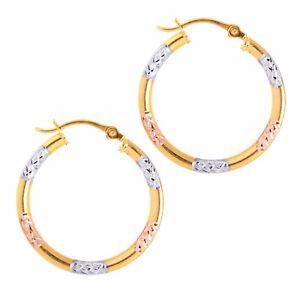 New Mcs Jewelry 10 Karat Gold Tri Color Hoop Earrings 20 Mm Pure