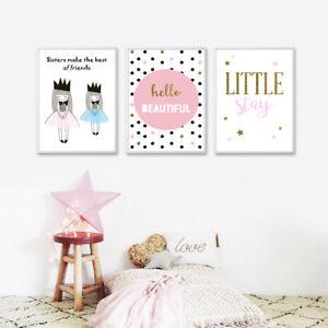 Cute Cartoon Girl Canvas Nursery Wall Art Poster Prints Baby ...
