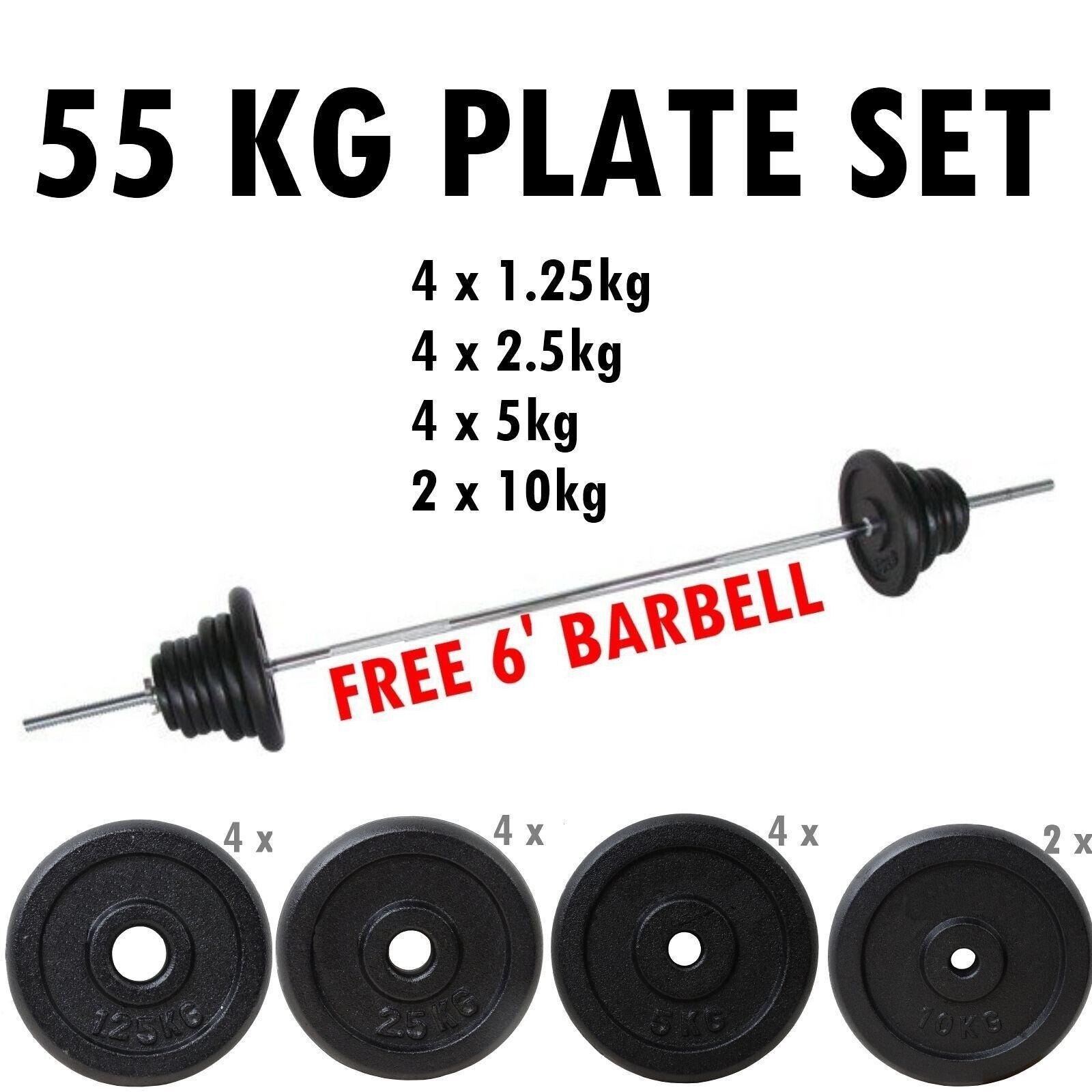 Bodyrip 55kg Bilanciere Set 2.5cm Foro Piastre Pesi Discs Eserzio Palestra Tuta