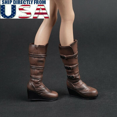 1//6 Red High Heeled Mid Boots Shoes for 12/'/' Hot Toys Phicen Kumik Figure