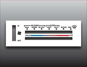 1979-1986-Chevrolet-Van-White-Heater-Control-Switch-Overlay-HVAC