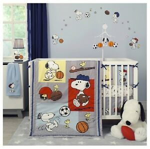 Image Is Loading Crib Bedding Sports Snoopy Boys Baseball Basketball Football