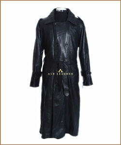 Full Leather Length Black Lambskin Trench Db Mens Real Soft w6BtH