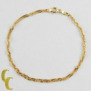 MCS-14k-Yellow-Gold-Twisted-Link-Chain-Bracelet-8-034-Made-in-Italy