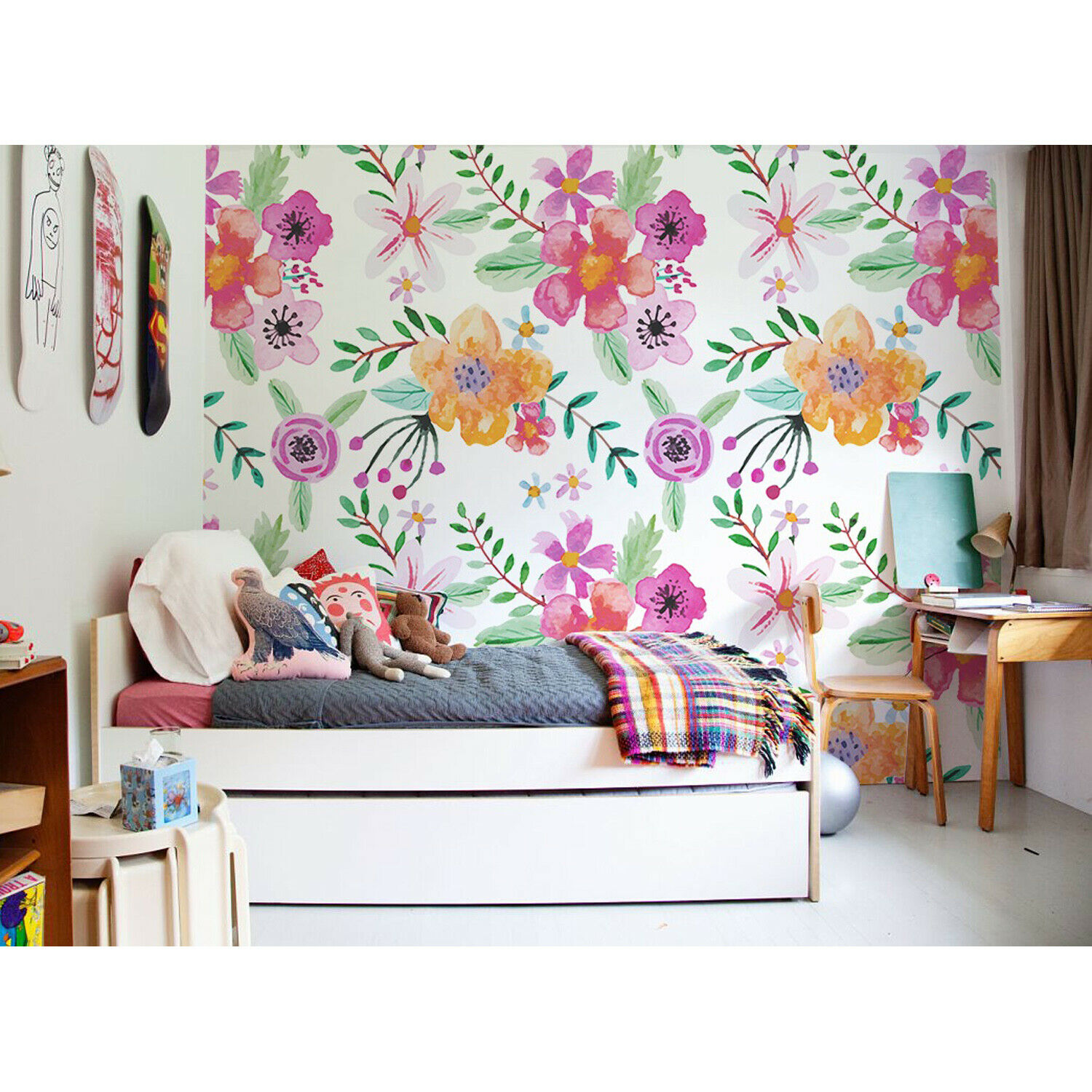 Alternative Floral Removable Farbeful Botanical Drawing Wallpaper wall mural