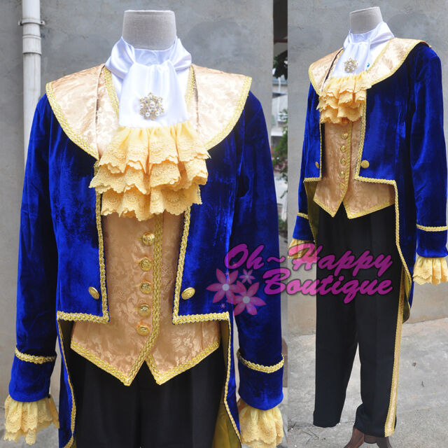 Halloween Beauty and the Beast Prince Tuxedo Cosplay Costume Party Men/'s Costume