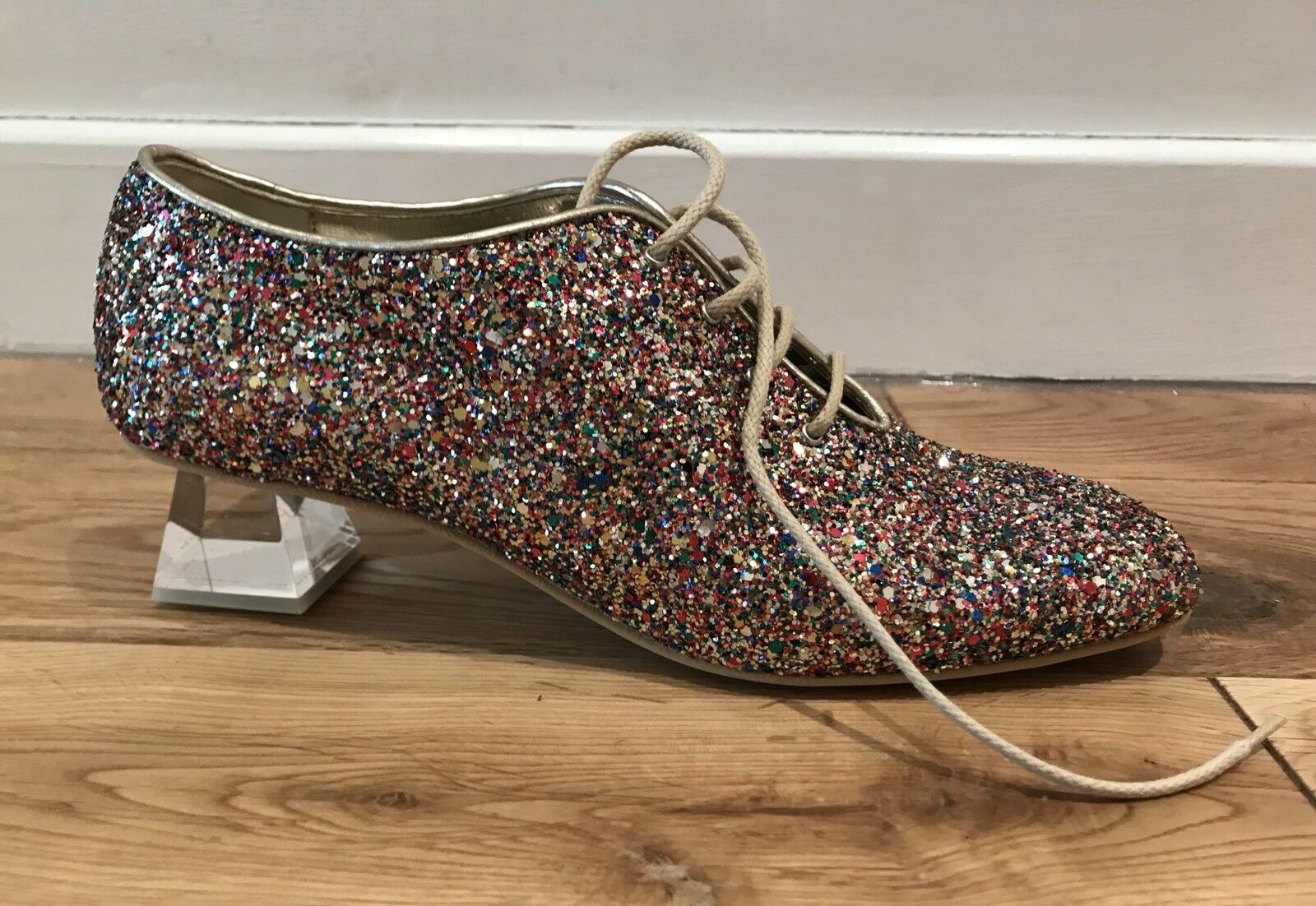 Descuento de liquidación Stella McCartney Glitter Lace Up Shoes With Perspex Heel. BNWB. Size EU39