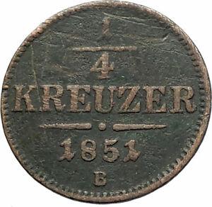 1851-AUSTRIA-KING-FRANZ-JOSEPH-I-Eagle-Genuine-Austrian-1-4-Kreuzer-Coin-i76541