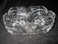 Lead Crystal Bowl ~ Etched Fowers - Beautiful Square Design