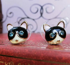 Very cute enamel crystal eye cat charm earrings