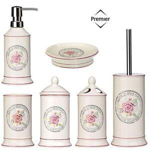 Bathroom Accessories Bath Dispenser Storage Set Ceramic Belle Cream ...