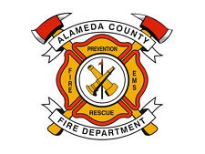 4x4 inch Maltese Shaped ALAMEDA COUNTY FIRE DEPT Sticker - ca firefighter logo