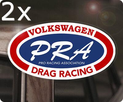 "2x pieces PRA Volkswagen Drag Racing sticker decal vw bug beetle aircooled 6/"""