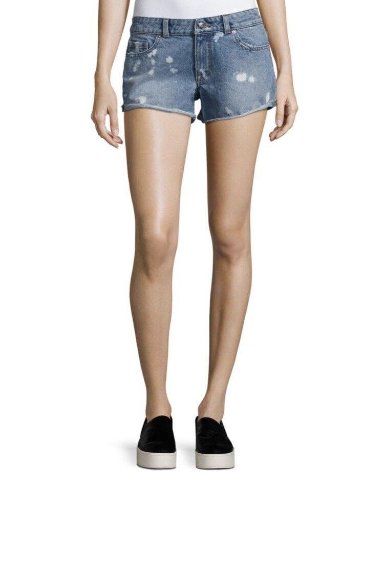 DL1961 Premium Denim Renee Bleached-Spots Cutoff Denim Shorts Indigo
