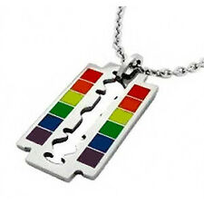 Gay Flag Rainbow Razor Blade Pendant - LGBT Gay & Lesbian Pride Necklace