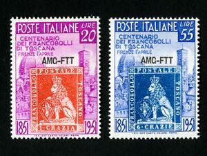 TRIESTE-TIMBRES-N-108-9-tres-fine-ORIGINAL-GUM-legerement-a-charniere