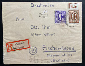 1946 Wunsfedel Germany Allied occupation Registered Cover To Ashersleben