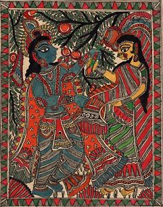 Madhubani-Indian-Tribal-Mithila-Folk-Painting-Handmade-Radha-Krishna-Decor-Art