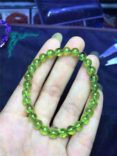 AAAAA 8 mm Natural Green Peridot Gemstone Round Beads Bracelet