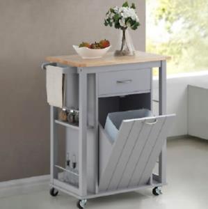 Details about Havenside Home Nixonton Traditional Grey Wood Island Kitchen  Cart Wheels Storage