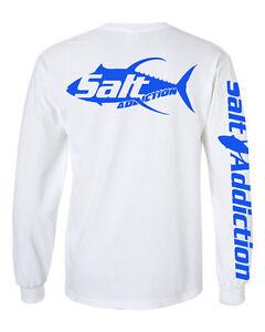 Salt addiction long sleeve saltwater fishing t shirt deep for Custom saltwater fishing shirts