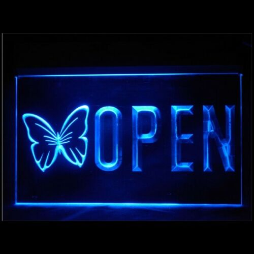 160117 OPEN Butterfly Beauty European Professional Tattoos LED Light Sign