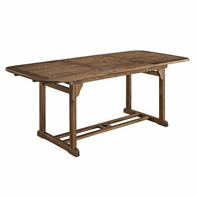 Walker Edison Acacia Wood Patio Dining Table in Dark Brown