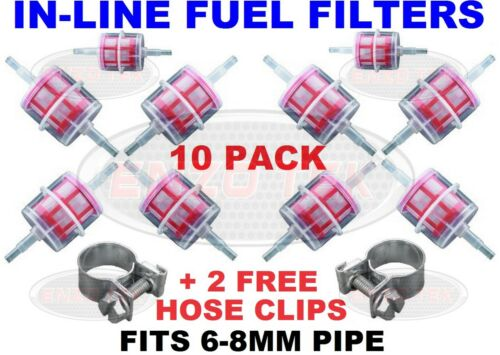 10 x Inline Fuel Filter Small Universal Fit 6-8mm Pipes Diesel Boat Marine Truck