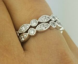1.00 Ct 14K Yellow Gold Round Stackable Eternity Band Endless Anniversary Ring