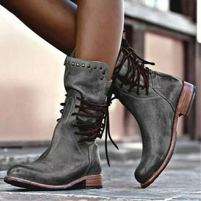 Retro Women Mid-Calf Boots Zip Chunky Rivet PU Casual Pump Lace Up Combat Bootie