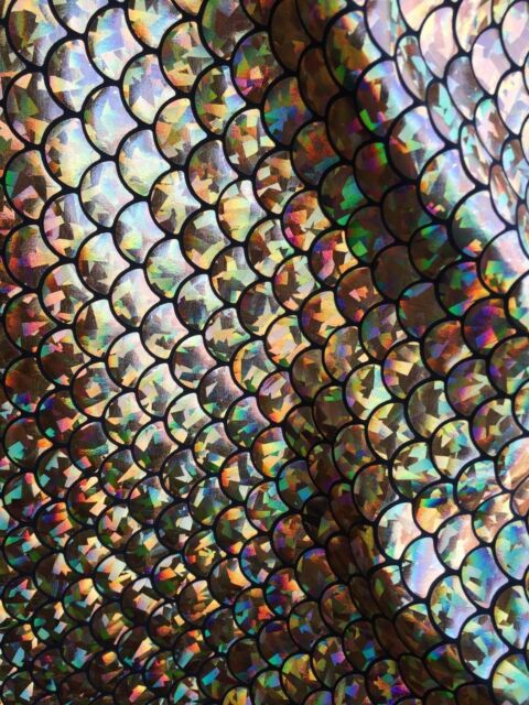 Stretch Mermaid Fish Scales White//pink Iridescent Foil Sold By Yard