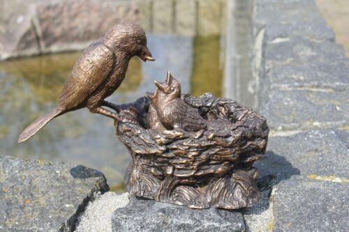 Scultura in bronzo uccelli nido madre quando si dar da mangiare DECORATIVO per CASA E GIARDINO