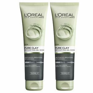 NEW L'Oreal Paris Pure Clay Charcoal Detoxifying Gel Face Wash Cleanser 150ml...