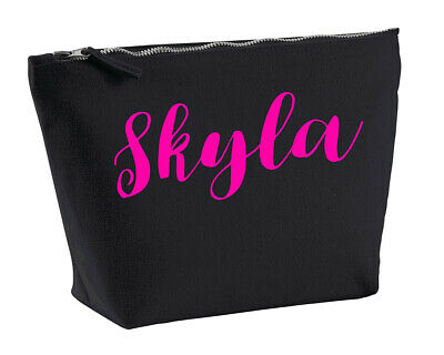 a386c388895 Skyla Personalised Make Up Accessory Bag In Black Colour Neon Pink Makeup    eBay