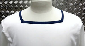 Genuine British Royal Navy Class 2 Sailor Square Neck Shirt White Marked/Dirty