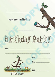 66 stickman pack of 10 kids children birthday party invitations ebay