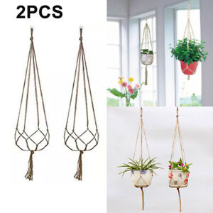 Vintage Macrame Plant Hanger Flower Pot Holder Hanging Basket Rope Wall Deco Art
