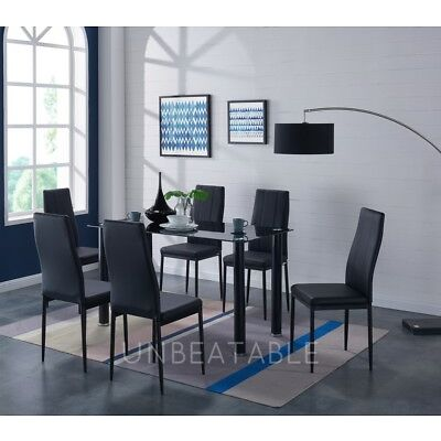 Dining Table Set Black or Grey Glass with 6 Black or Grey Faux Leather Chairs