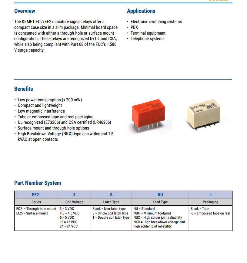 400 Pcs NEC Ee2-3nux-l Relay Gen Purpose DPDT 2a 3v