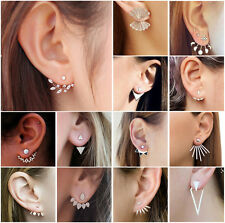 Women Crystal Rhinestones Metal Ear Stud Gold/Silver Earrings Lot Jewelry Gift